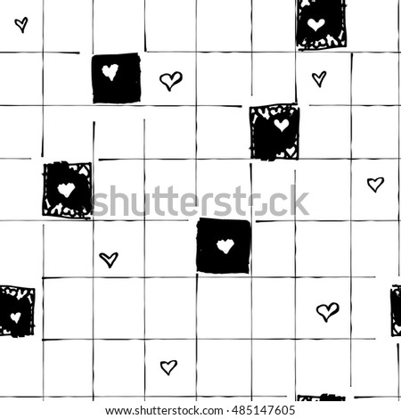 Vector abstract seamless pattern with hearts and black-and-white cage