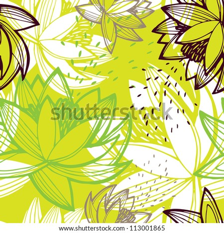 Vector abstract seamless pattern with lotus flowers in green color - stock vector