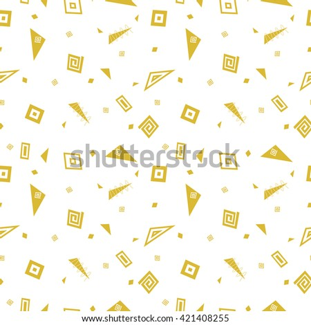 Vector abstract seamless pattern with monochrome geometric shapes. Retro memphis hipster style, fashion 80-90s. - stock vector
