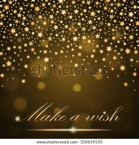 Vector abstract shining falling stars on golden ambient blurred background. Luxury design. Vector illustration