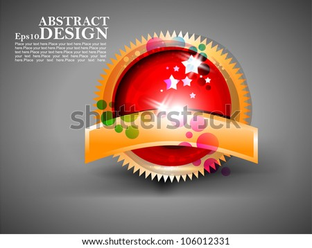 Vector abstract shiny golden label design in gray background. - stock vector
