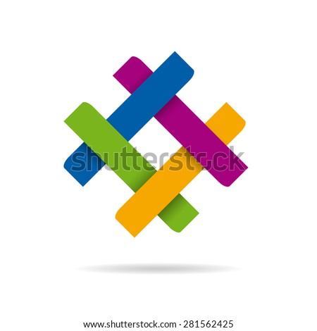 Vector abstract sign concept of synergy and teamwork, four colors - stock vector