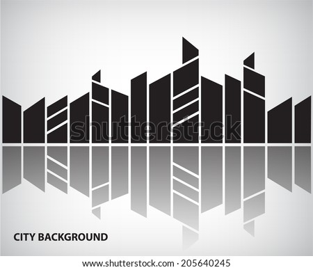 vector abstract silhouette city background with reflection, horizontal banner - stock vector