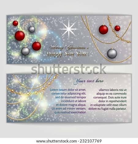 Vector abstract  silver Christmas and New Year Greeting or Invitation horizontal two side  Card - stock vector