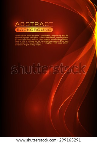 Vector abstract smoke bright orange background - stock vector