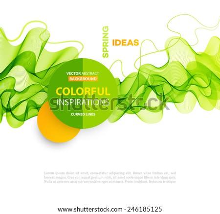 Vector Abstract smoky waves  background. Template brochure design - stock vector