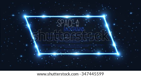 Vector abstract space background . Space banner ,frame  . Template , walkpaper , illustration . - stock vector