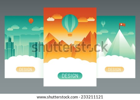Vector abstract splash screens for mobile phone app with landscapes - stock vector
