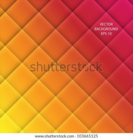 Vector Abstract squared  background - yellow, orange and red - stock vector