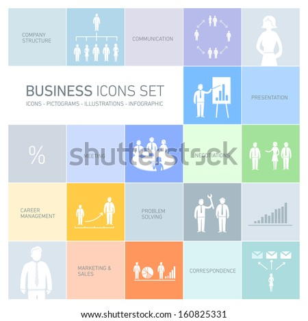 Vector abstract squares background illustration with icons, typography and pictograms of business people | ready to place your content - stock vector