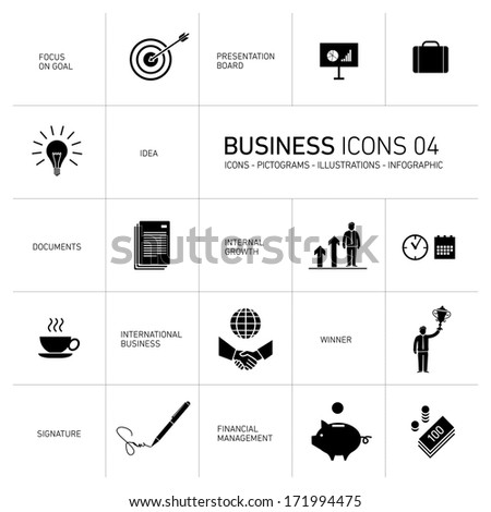Vector abstract squares icons and pictograms of business people and situations - stock vector
