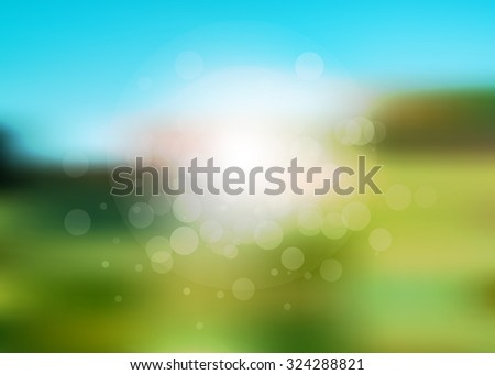 Vector abstract summer holiday blurred background. It looks like summer field with green grass and blue sky. - stock vector