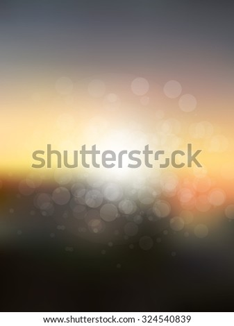Vector abstract sun holiday blurred background. Sunset over sea or ocean with sun flares and nice bokeh circles. - stock vector