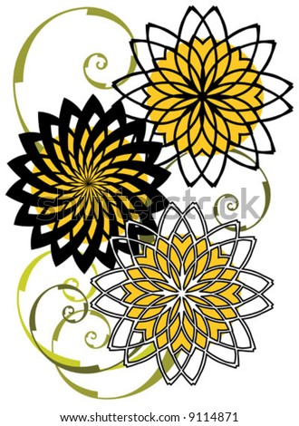 Vector Abstract sunflower design pattern.