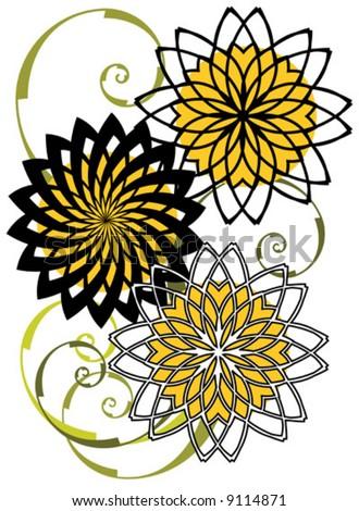 Vector Abstract sunflower design pattern. - stock vector