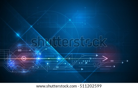 Vector Abstract technology futuristic. High tech circuit board, Illustration high computer technology with dark blue color background. Hi-tech digital technology concept