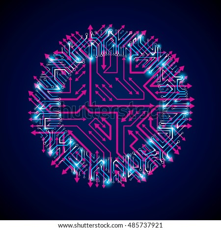vector abstract technology illustration round blue stock vector