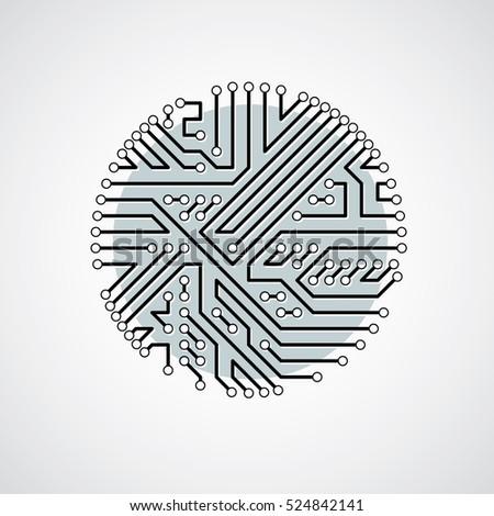 vector abstract technology illustration round monochrome stock