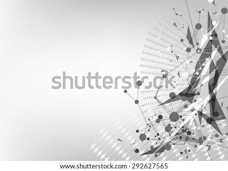 vector abstract technology, triangle polygon background - stock vector