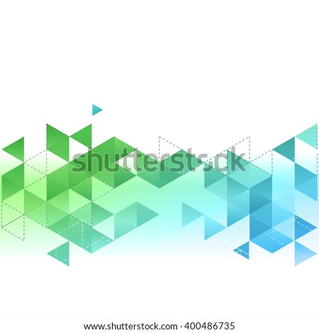 Vector Abstract template background with blue and green triangle. For brochure, cover, flyer design. - stock vector