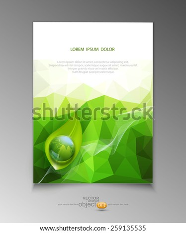 vector abstract template brochure for business with green triangles , leaves and  with a globe  - stock vector