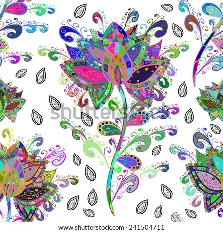 Vector abstract texture with abstract flowers. Endless background. Ethnic lace pattern. Vector backdrop. Bright pattern. Summer template. Use for wallpaper,pattern fills, web page background.  - stock vector