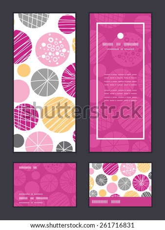 Vector abstract textured bubbles vertical frame pattern invitation greeting, RSVP and thank you cards set - stock vector