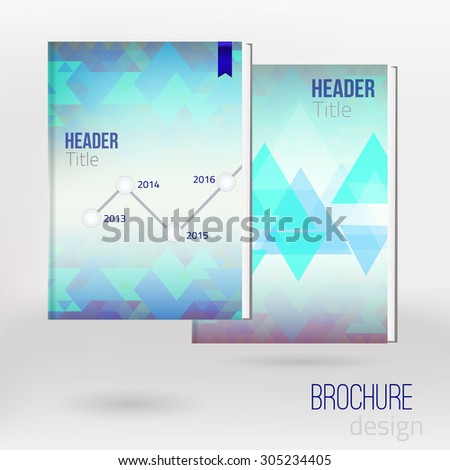 Vector Abstract Triangle Brochure Flyer design with time line. Vector template. EPS10 - stock vector