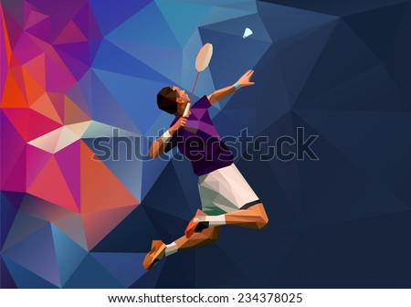Vector abstract triangle polygon style male badminton player doing smash shot with space for poster, web, leaflet, magazine - stock vector