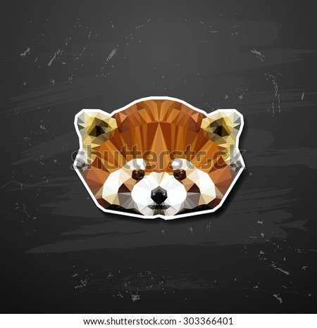 vector abstract triangle polygonal Lesser panda abstract triangle polygonal - stock vector