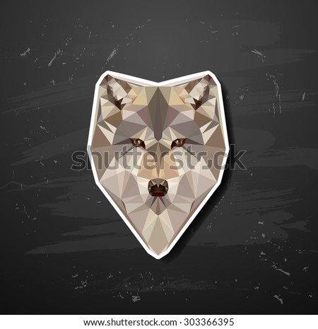 vector abstract triangle polygonal wolf snout origami animal style - stock vector
