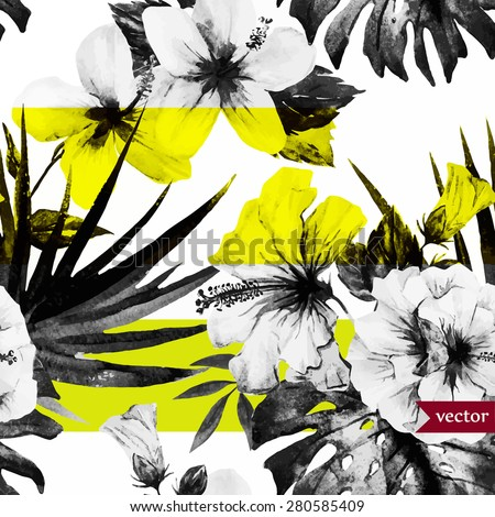 vector abstract tropical pattern, black and white with a yellow stripe - stock vector
