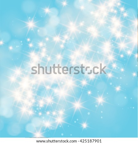 Vector abstract twinkled bright background with bokeh defocused blue lights. - stock vector