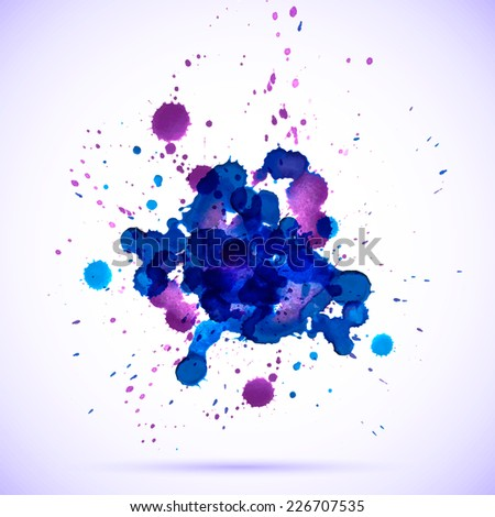 Vector abstract watercolor banner. Blue, cyan and purple background. Design template with place for your text. Can be used for banners for sale, web pages, printing, invitations, cards, etc. - stock vector