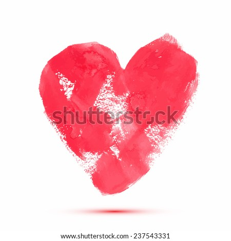 Vector abstract watercolor heart for valentine's day or wedding. Design template with place for your text. Can be used for web pages, identity style, printing, invitations, banners, cards, wrapping. - stock vector