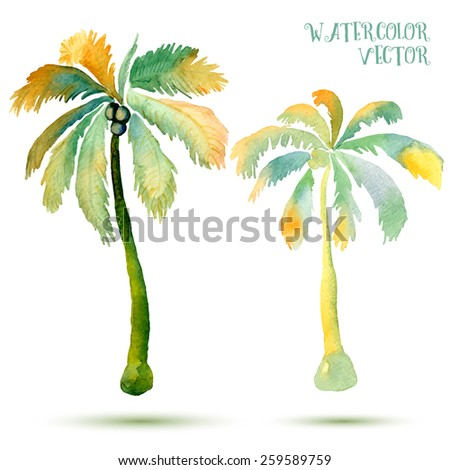 Vector abstract watercolor palms.