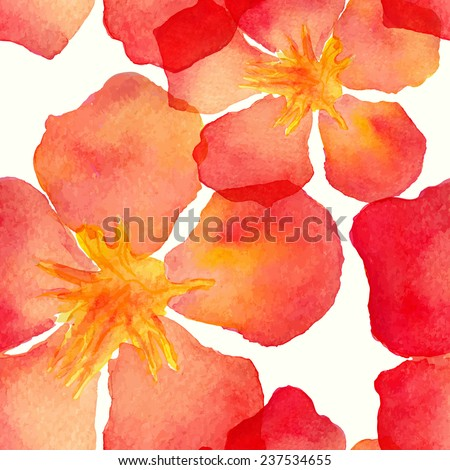 Vector abstract watercolor seamless pattern with oleander flowers and leaves. Can be used for web pages, identity style, printing, invitations, banners - stock vector
