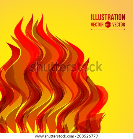 Vector abstract wave fire on yellow background - stock vector