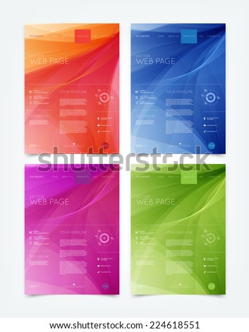 Vector abstract website design templates collection with smooth dynamic wave backgrounds - stock vector