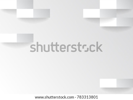 Vector Abstract White Background Textured Wallpaper Art Design Paper Cut Creative Square Shape Modern Style Silver