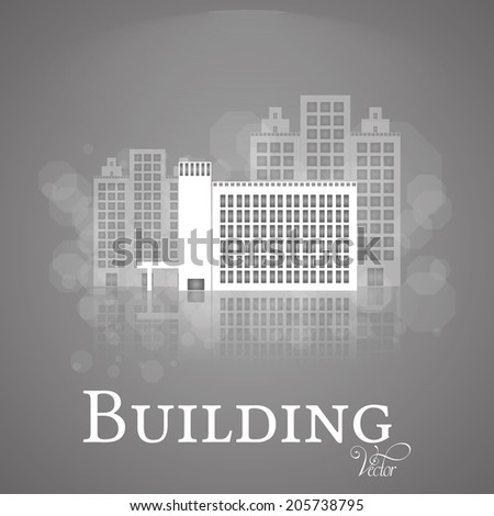 Vector Abstract  White Building Isolated On Background
