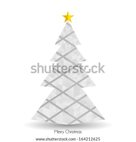 Vector Abstract White Christmas Tree Isolated