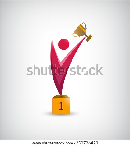vector abstract winner, leader man, person icon, logo isolated - stock vector