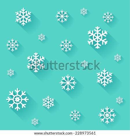 Vector abstract winter snowflakes background in flat design style. Various of snowflakes, icons with long shadows.  - stock vector