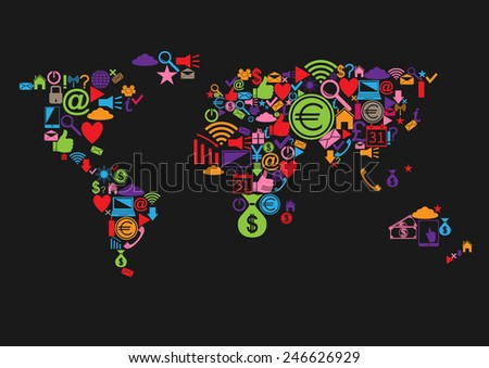 Vector abstract world map with colorful web icons