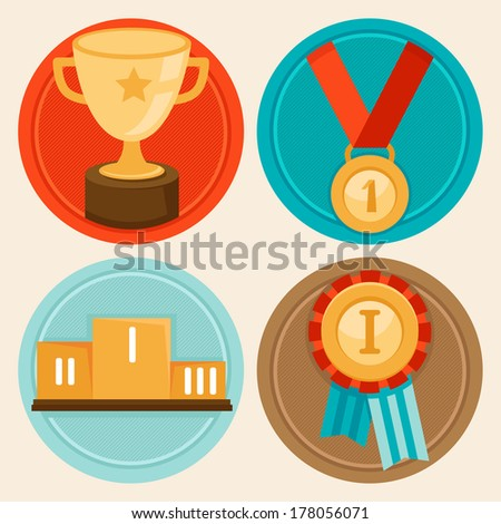 Vector achievement badges and emblems in flat style - success concepts and icons - stock vector