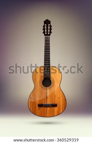 vector acoustic guitar illustration - stock vector