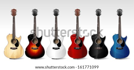 Vector acoustic guitars - stock vector