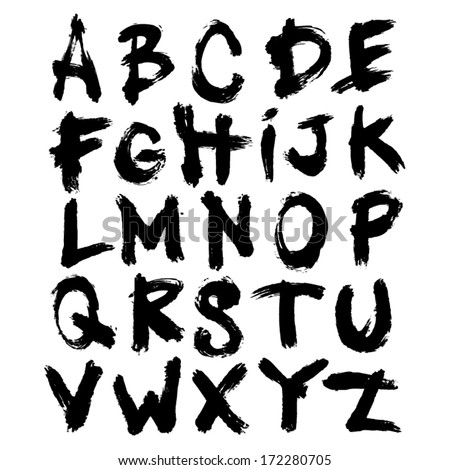 Vector Acrylic Brush Style Grungy Street Hand Drawn Alphabet Font - stock vector