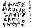 Vector Acrylic Brush Style Hand Drawn Alphabet Font - stock vector